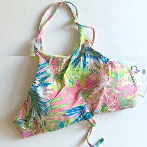 Tini Bikini Floral Stripe Reversible Bikini Top